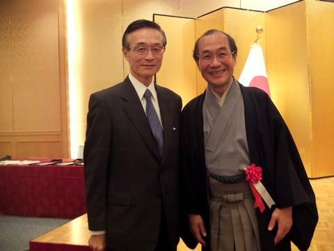 三条会商店街100周年式典 門川市長と記念撮影